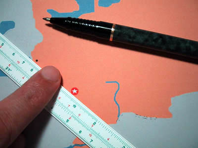 Map and ruler